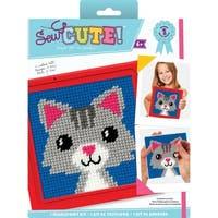 "Sew Cute! Lola Cat Needlepoint Kit-6""X6"" Stitched In Yarn"