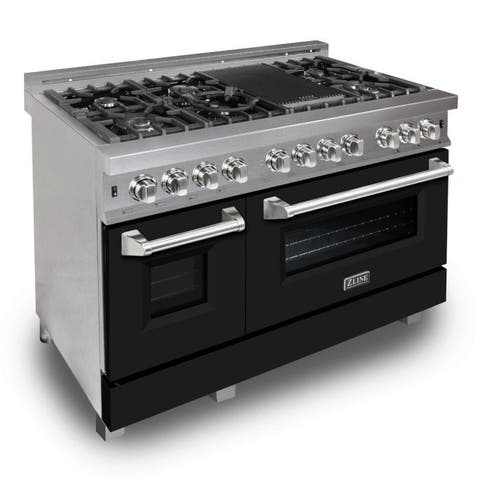 "ZLINE 48"" Professional Dual Fuel Range in DuraSnow® - Black Matte Door"
