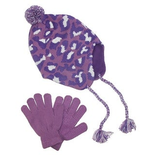 CTM® Girls' & Teens' Fleece Lined Animal Print Hat and Glove Set - One size