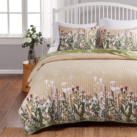 Barefoot Bungalow Dandelion Reversible Cotton Rich Quilt and Pillow Sham Set