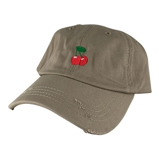 Cherry Unstructured Strapback Hat Cap by Caprobot - Khaki Red