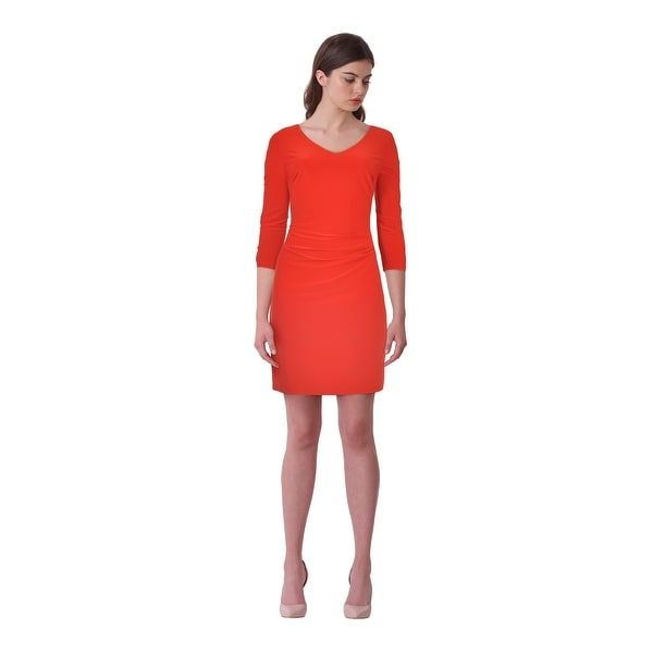 f156ae1790654 Shop Lauren Ralph Lauren Jersey 3 4 Sleeve V-Neck Cocktail Day Dress Red -  8 - Free Shipping Today - Overstock.com - 19218415
