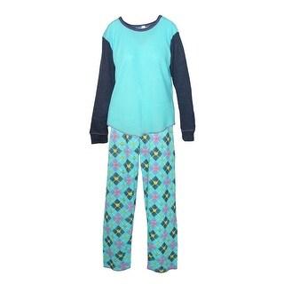 CTM® Women's Plus Size Waffle Weave Pajama Set - aqua