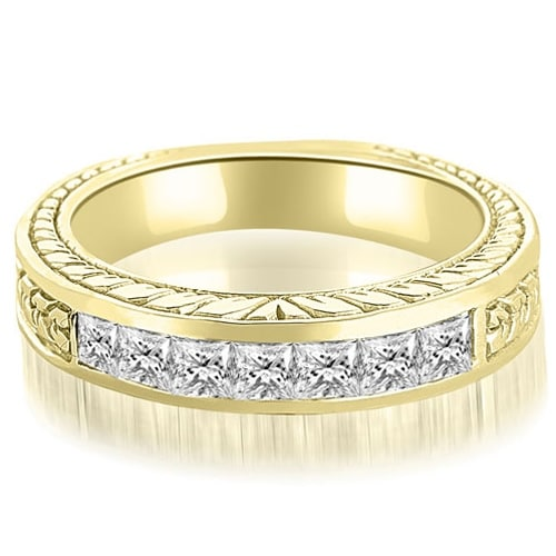 0.70 cttw. 14K Yellow Gold Princess Diamond Vintage Wedding Band
