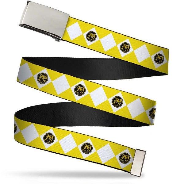Blank Chrome Buckle Diamond Yellow Ranger Webbing Web Belt - S