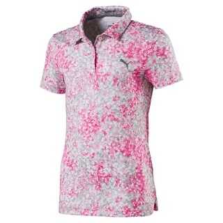 Puma Golf Girl's 2018 Floral Polo, Small, Carmine Rose, Carmine Rose, Size Small