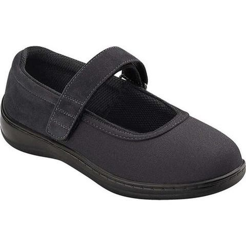 Orthofeet Women's Springfield Black Synthetic Stretch