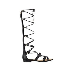 GUESS Womens Mylanie Leather Open Toe Casual Gladiator Sandals