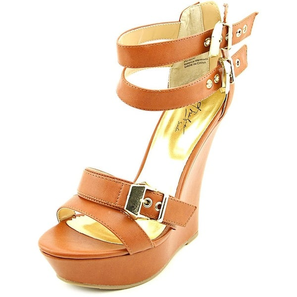 Thalia Sodi Elia Women Open Toe Synthetic Tan Platform Sandal