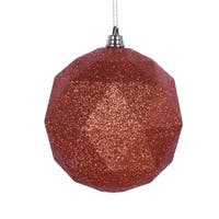 8 in. Burnish Orange Glitter Geometric Christmas Ornament Ball