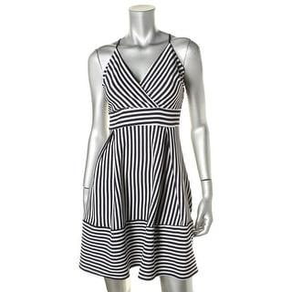 Aqua Womens Striped Surplice Cocktail Dress