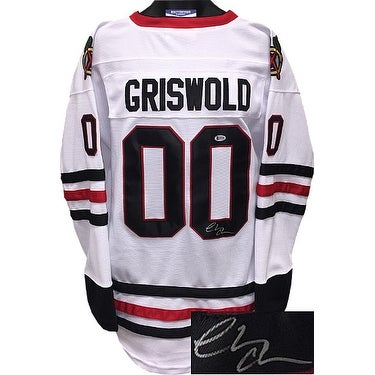 online store ae786 41ef6 Chevy Chase signed Chicago Blackhawks White Christmas Vacation Clark  Griswold Custom Stitched Hocke