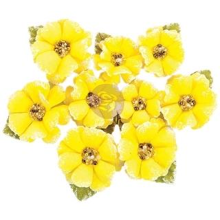 Prima Marketing Fabric Flowers W/Beads & Flocking 9/Pkg-Tropicalia