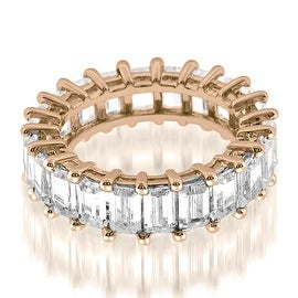 5.50 cttw. 14K Rose Gold Exquisite Shared Prong Emerald Diamond Eternity Ring