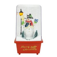 "11.5"" Musical ""Let it Snow"" Snowman Christmas Snow Globe Glitterdome - RED"