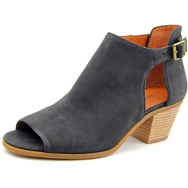 Lucky Brand Barimo Women Open-Toe Leather Black Bootie