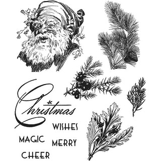 "Tim Holtz Cling Stamps 7""X8.5""-Christmas Classic"