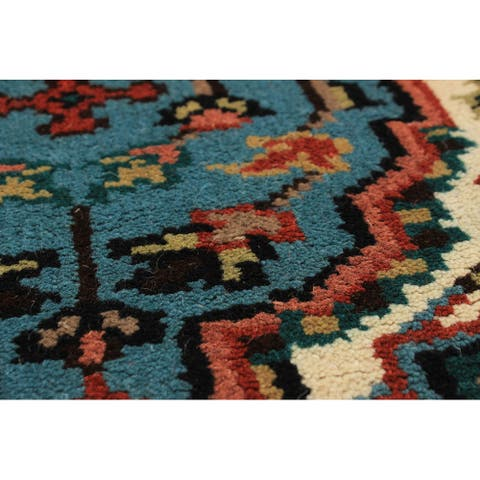 ECARPETGALLERY Hand-knotted Royal Heriz Turquoise Wool Rug - 2'7 x 20'4