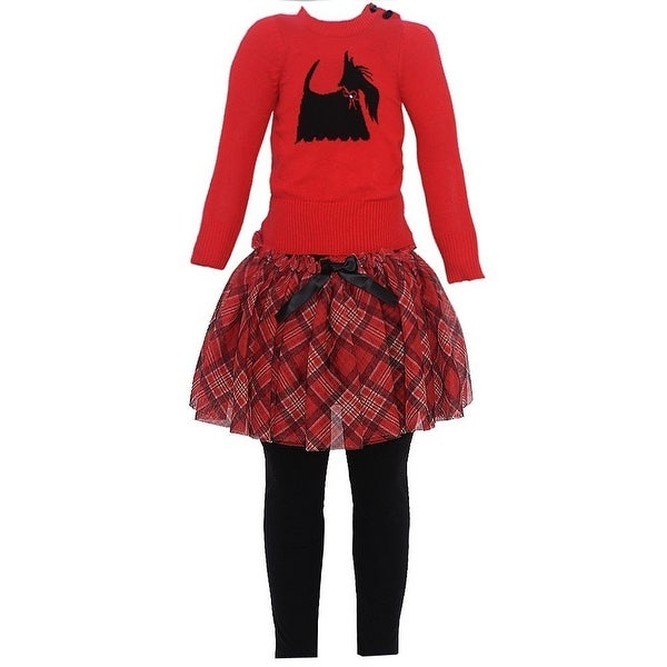 Baby Girls Red Knit Top Plaid Skirt 3 Pc Legging Set 3/6M