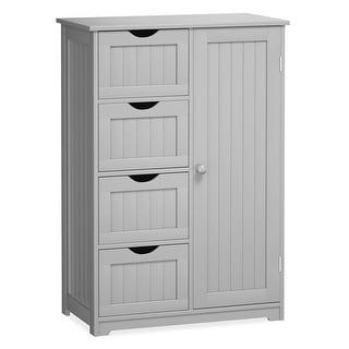 Gymax Wooden 4 Drawer Free Standing Bathroom Floor Cabinet Storage - See Details