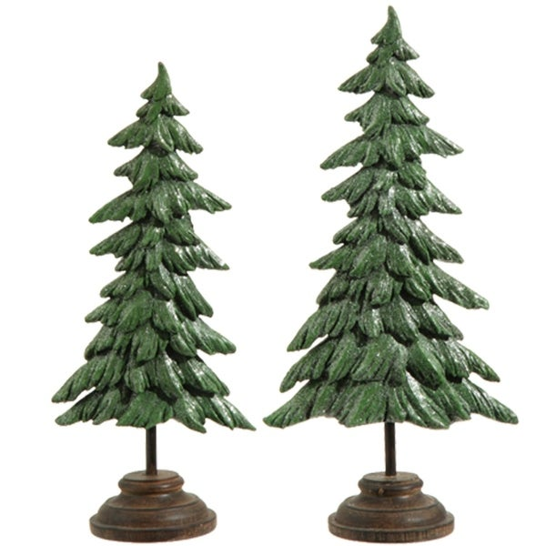"""Set of 2 Green and Brown Glitter Pine Tree Christmas Decorations 17"""""""
