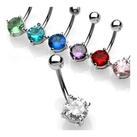 "Navel Belly Button Ring with Prong-Set 7mm Round CZ - 14GA 3/8"" Long (Sold Ind.)"