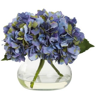 Nearly Natural Blooming Hydrangea with Vase Arrangement