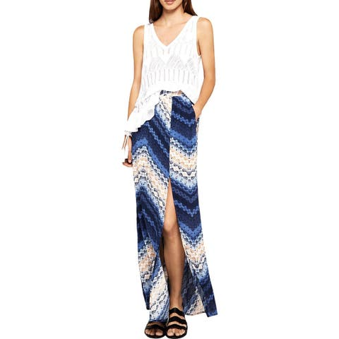 BCBGeneration Womens Maxi Skirt Tie-Dye Side Slit