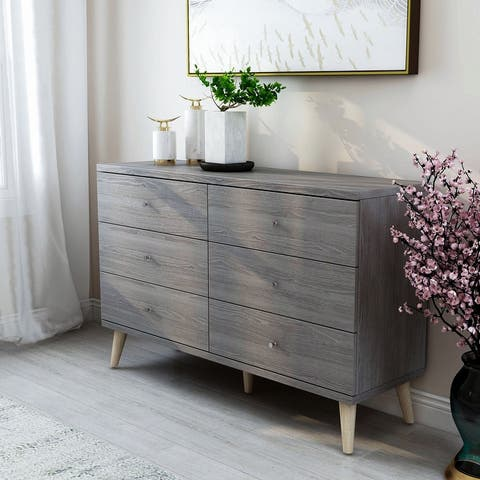 Carson Carrington Gjovik Contemporary Distressed Grey 6-drawer Dresser