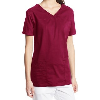 Cherokee NEW Burgundy Red Womens Size XL Scrubs Core-Stretch V Neck Top 190
