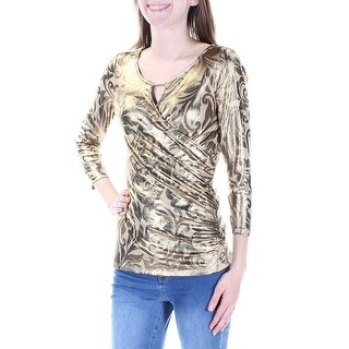 Womens Gold Printed 3/4 Sleeve Keyhole Casual Faux Wrap Top Size L