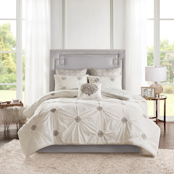 Madison Park Edna 6 Piece Embroidered Cotton Reversible Comforter Set. Opens flyout.