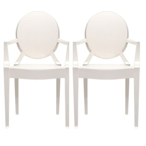 Set of 2 Dining Chair with Arms Molded Transparent Stacking Plastic For Home Restaurant Office Desk Kitchen