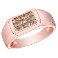 Prism Jewel 0.62Ct SI1 Princess Brown Color Diamond Men's Wedding Ring