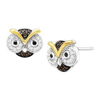1/5 ct 1/5 ct Black, White & Champagne Diamond Owl Earrings in Sterling Silver & 10K Gold