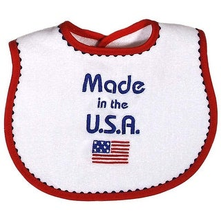 """Raindrops Unisex Baby Red """"Made in USA"""" Embroidered Bib - One size"""