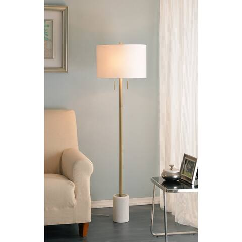 """Beau 62"""" Floor Lamp - Antique Brass and Marble Base"""