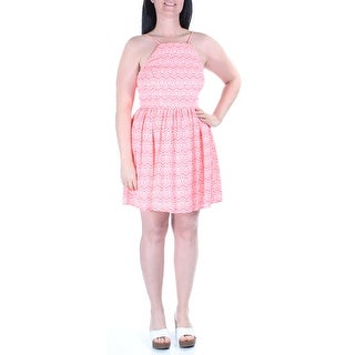 Womens Pink, White Tribal Spaghetti Strap Above The Knee A-Line Dress Size: 11