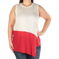 ANNE KLEIN Womens Red Color Block Sleeveless Jewel Neck Top  Size: XL