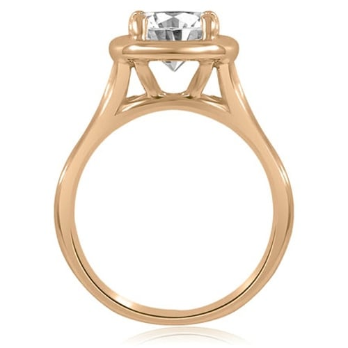 0.50 cttw. 14K Rose Gold Split Shank Halo Round Diamond Engagement Ring