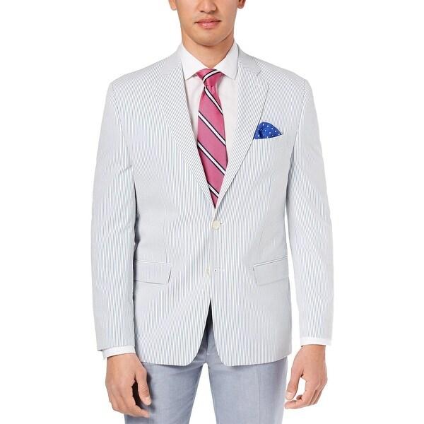 e466c294ab Ralph Lauren Mens Seersucker Sport Coat 46R Blue and White Stripe Cotton  Blazer