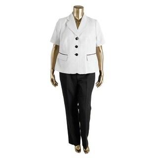 Le Suit Womens Plus The Hamptons Textured 2PC Pant Suit
