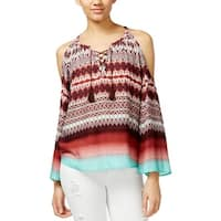 Jessica Simpson Womens Shayna Peasant Top Ikat Lace Up