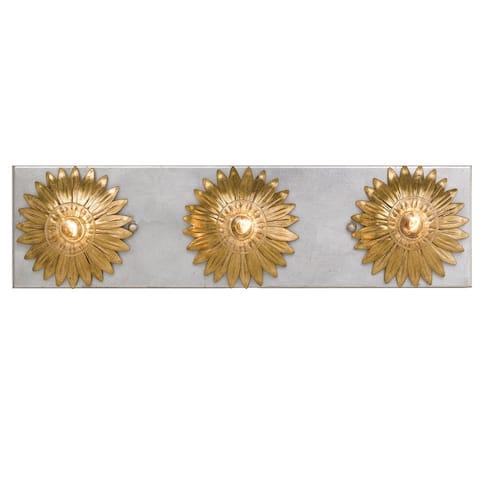 Broche 3 Light Antique Gold & Antique Silver Bathroom Vanity - 18'' W x 4.5'' H x 5'' D