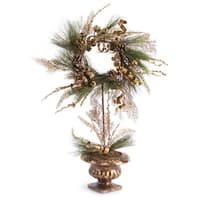 "28"" Golden Brown Ribbon Berry & Pine Cone Christmas Wreath Topiary Tree - Unlit - GOLD"
