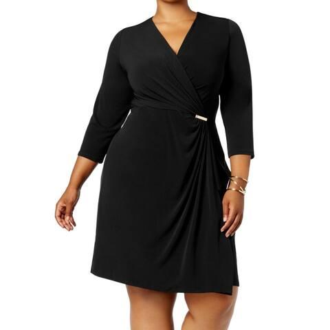 Charter Club Women's Faux-Wrap Black Size 2X Plus Hardware-Detail