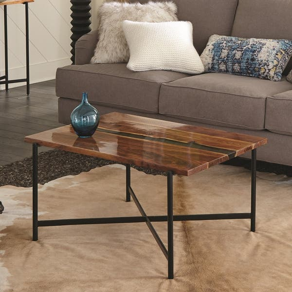 Carbon Loft Galvan 36 Inch Acacia Wood And Acrylic Coffee Table On Sale Overstock 29871436