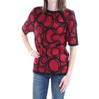 Womens Red Short Sleeve Crew Neck Casual Sweater  Size  L