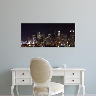 Easy Art Prints Panoramic Images's 'Buildings lit up at night, Los Angeles, California, USA' Premium Canvas Art