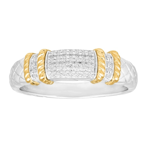 1/10 ct Diamond Cable Band Ring in Sterling Silver and 14K Gold